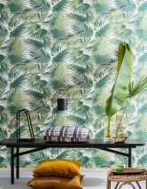 Wallpaper Konda Matt Palm fronds Cream Green-beige pearl lustre Fir tree green