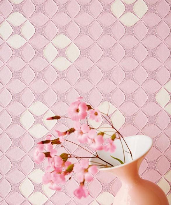 Papel pintado Korsal Brillante Ornamentos pequeños Flores estilizadas Rosa claro pastel Blanco crema