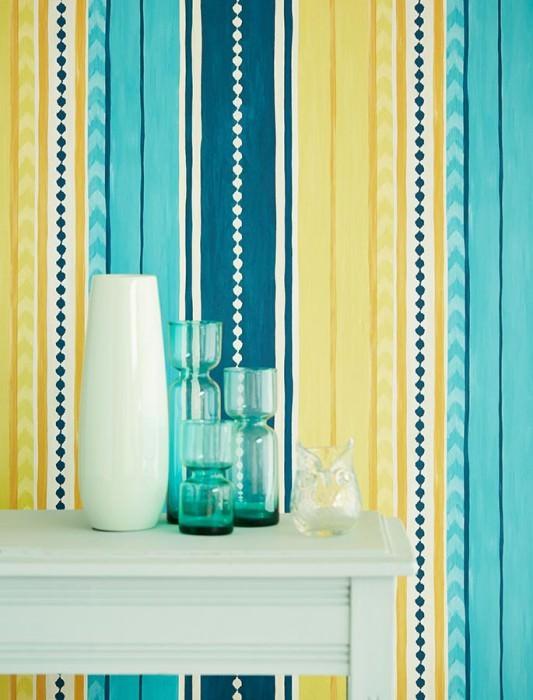 Papier peint kiwol blanc cr me bleu vert jaune miel chatoyant bleu turquoise papier peint - Papier peint bleu turquoise ...