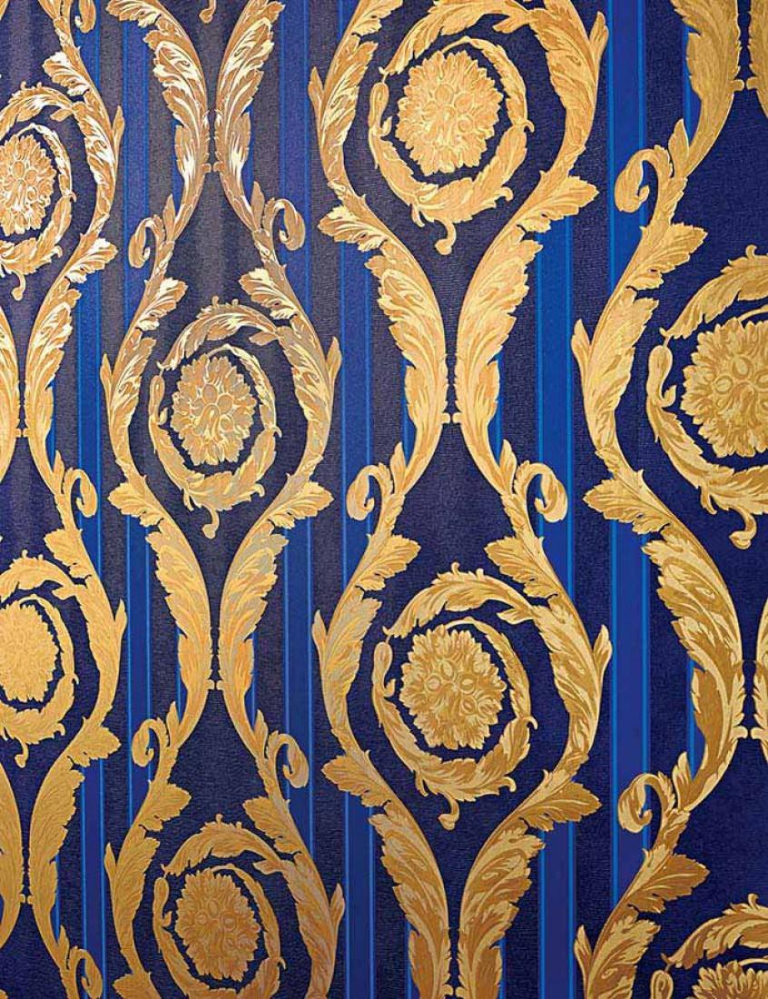 Tapete fotini dunkelblau blau gold hellblau mattgold for Tapete hellblau muster