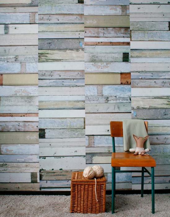 Tapete Scrapwood 11 Matt Shabby Chic Holz-Imitation Blassbraun Grau Grauweiss Hellgrauweiss Hellgrauweiss