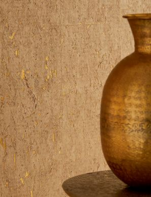 Wallpaper Cork on Roll 01 matt gold Room View