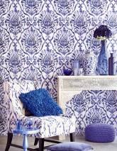 Wallpaper Esiko Matt Floral damask Cream Pastel violet Sapphire blue Black blue Violet blue