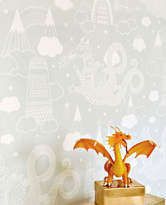 Wallpaper Drakhimlen Hand printed look Matt Dragons Castle Stars Clouds Light grey Cream