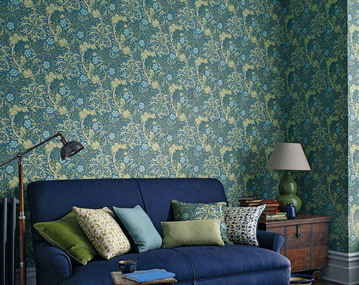 papier peint caruso bleu oc an jaune p le vert p le vert foug re bleu d eau papier peint. Black Bedroom Furniture Sets. Home Design Ideas