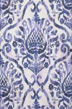 Carta da parati Esiko Opaco Damasco floreale Bianco crema Viola pastello Blu zaffiro Blu nero Blu violetto