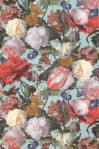Wallpaper Doriana Matt Looks like textile Flowers Bugs Pastel turquoise Brown Green Light pink Red Violet blue