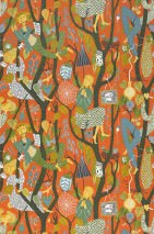 Wallpaper Amadeus Hand printed look Matt Trees People Birds Orange brown   Blue Black green Sun yellow White