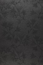 Wallpaper Oana Matt pattern Shimmering base surface Flower tendrils Dark grey shimmer Black