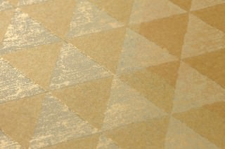 Wallpaper Orkeb Matt Geometrical elements Pale blue grey Gold shimmer Matt gold