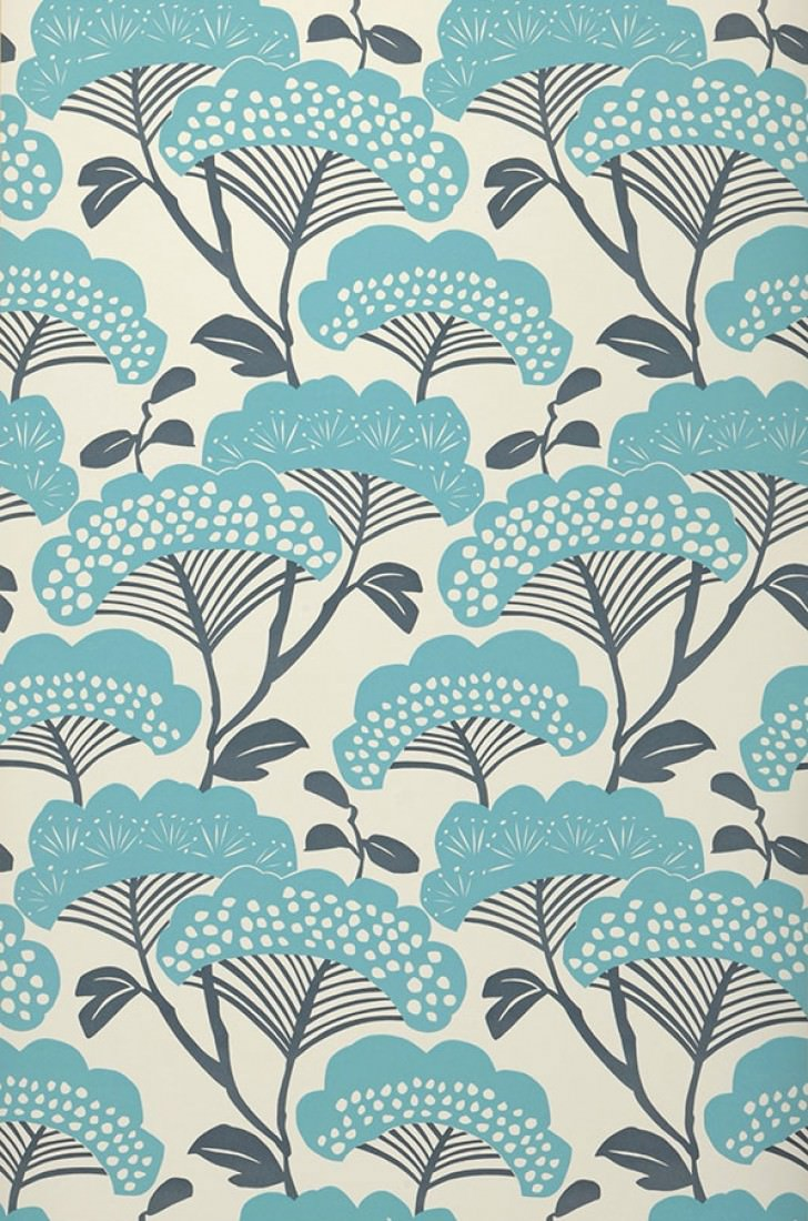 Zwegi blanc cr me bleu gris turquoise papier peint - Motif tapisserie ...