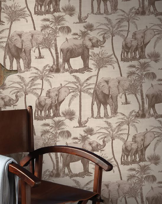Romantic wallpaper Wallpaper Raynor pale brown Room View
