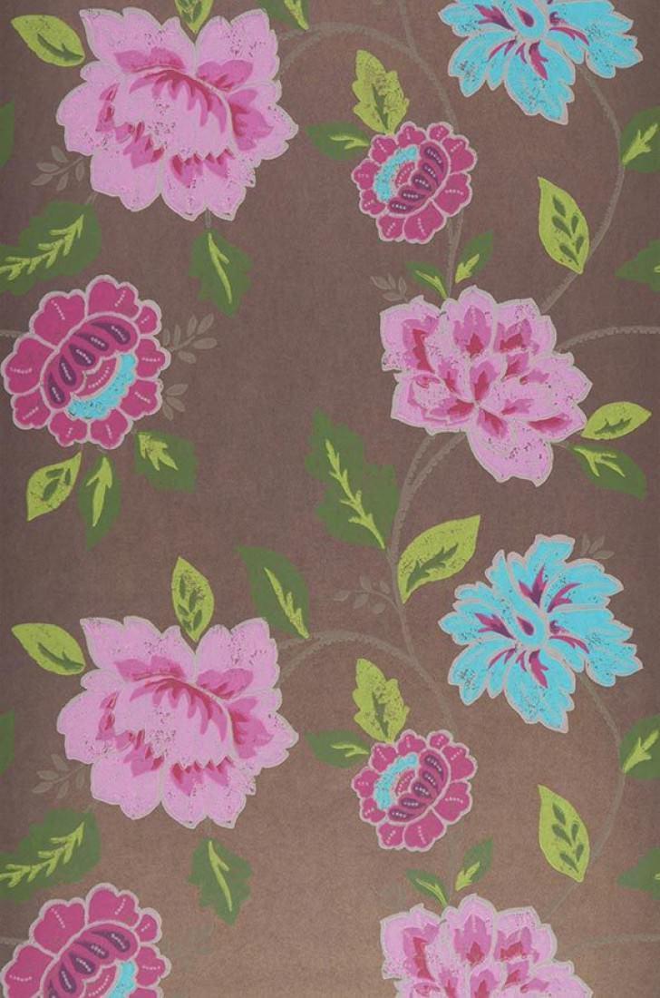 Papel pintado forseti marr n gris ceo verde rosa - Papeles pintados de los 70 ...