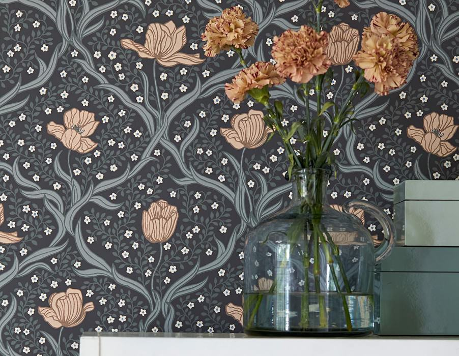 Wallpaper Lena Matt Flower tendrils Tulips Anthracite Beige grey Pale pink Blue Cream Grey