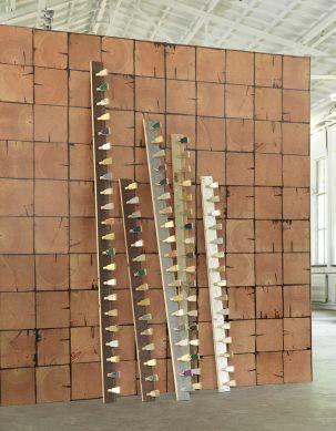 Papel pintado Scrapwood 09 marrón anaranjado Ver habitación