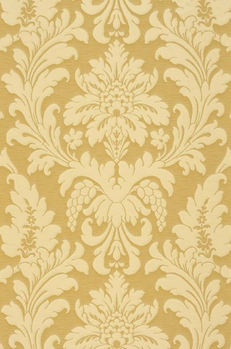 Wallpaper Marunda Matt Looks like textile Baroque damask Sand yellow Light ivory