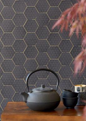 Wallpaper Hadeggo black grey Room View