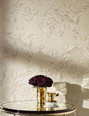 Papel pintado Clarissa beige grisáceo claro Ver habitación