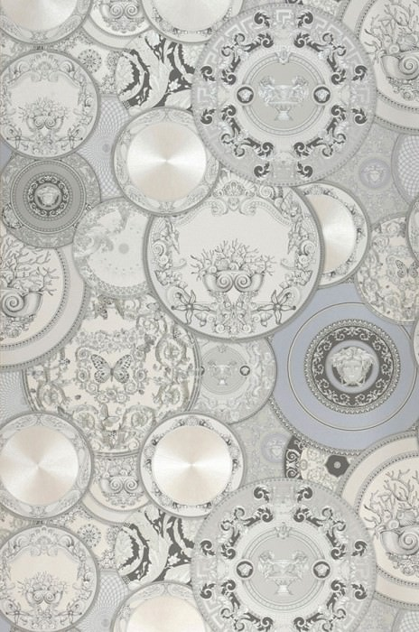 Wallpaper Noell Shimmering Floral damask Circles Medallions Animals Cream shimmer Light grey shimmer Umbra grey