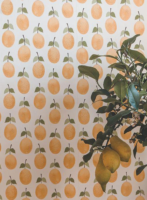 Papel de parede rústico Papel de parede Henriette amarelo ouro Ver ambiente