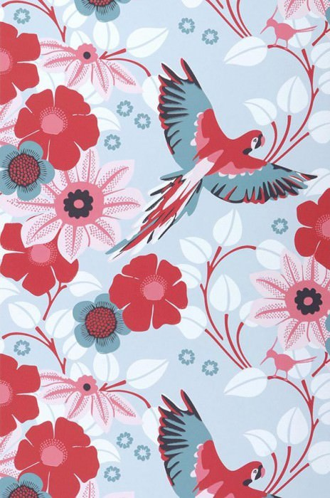 Wallpaper Cecile Matt Flowers Parrots Pastel light blue Grey blue Rose Red Black White