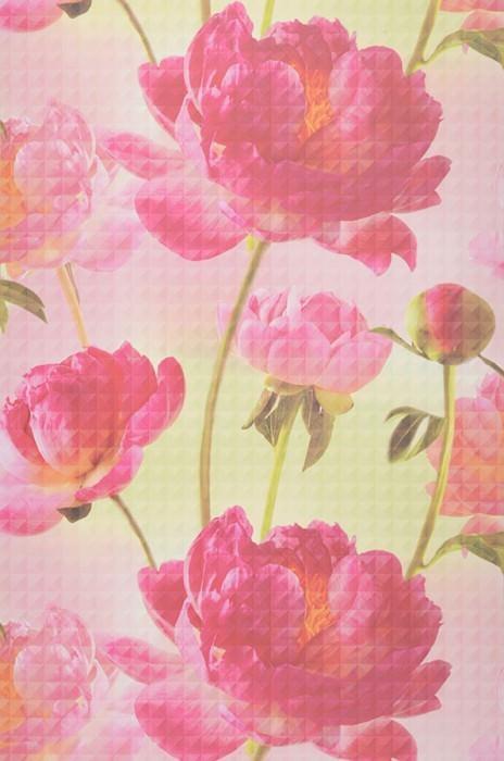 Wallpaper Aurelie Matt Flowers Light pink Pastel green Fuchsia Yellow green Rose