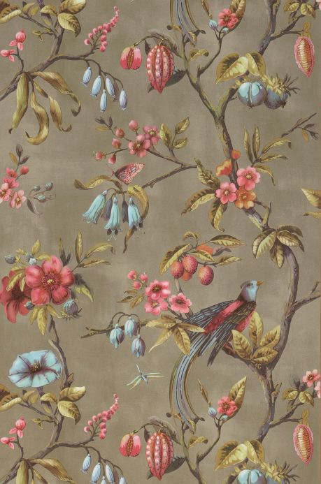 Classic Wallpaper Wallpaper Camille olive grey Bahnbreite