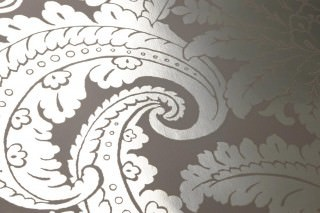 Wallpaper Nemesis Metallic effect Baroque damask Grey Silver lustre