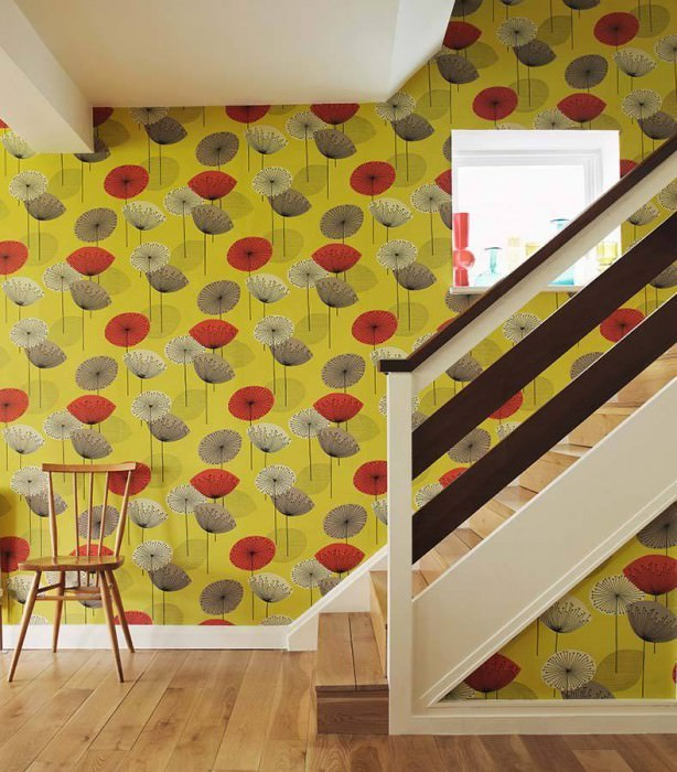 Wallpaper Dana Matt Stylised blossoms Yellow green Grey Grey white Red Black