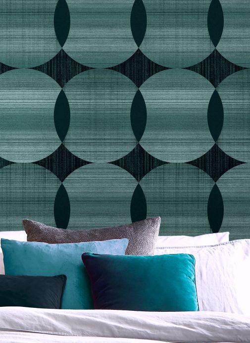 Papel pintado geométrico Papel pintado Kasavu aguamarina brillante Ver habitación