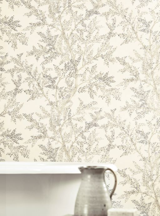 Botanical Wallpaper Wallpaper Nirina grey tones Room View