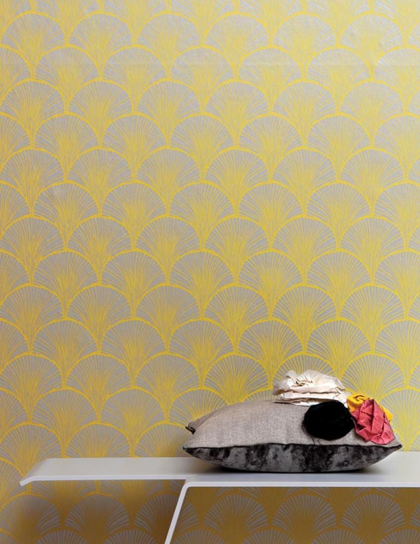 Papel pintado nippon aluminio blanco amarillo papeles de los 70 - Papel pintado de los 70 ...