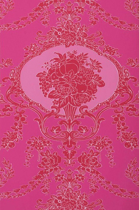 Wallpaper Karima Fine linen look Matt Floral damask Magenta Strawberry red Heather violet