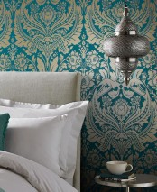 Wallpaper Manus Shimmering pattern Matt base surface Floral damask Water blue Pearl gold