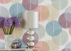 Wallpaper Loris Matt Graphic elements Balls Cream Antique pink Beige Light grey Light grey blue Pastel violet