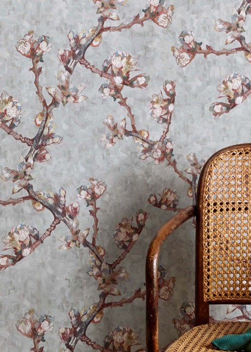 Wallpaper VanGogh Bloomy Matt Branches with blossoms Light beige grey Cream Ochre Pastel turquoise Red brown