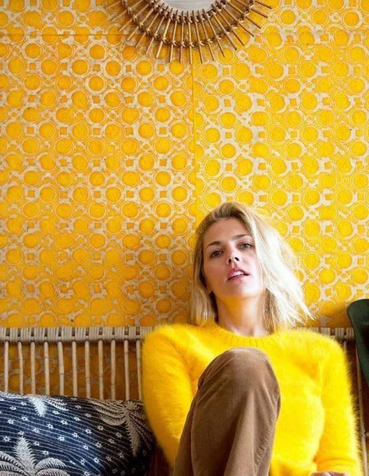 Papel de parede geométrico Papel de parede Nangwa amarelo milho Ver quarto