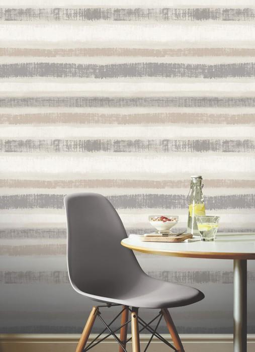 Wallpaper Zitor Matt Cross stripes Beige grey Brown white Cream Pearl dark grey