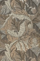 Wallpaper Patagonia Matt pattern Shimmering base surface Leaf tendrils Pearl beige Grey brown Light beige grey Light grey beige Pebble grey