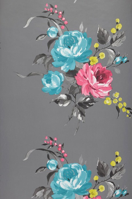 Papel pintado Olesia Patrón brillante Superficie base mate Flores Gris Fucsia Verde amarillento Plata Azul turquesa