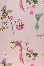 Wallpaper Ornella Matt Birds Branches with blossoms Pale pink Heather violet Grey brown Green Orange Turquoise