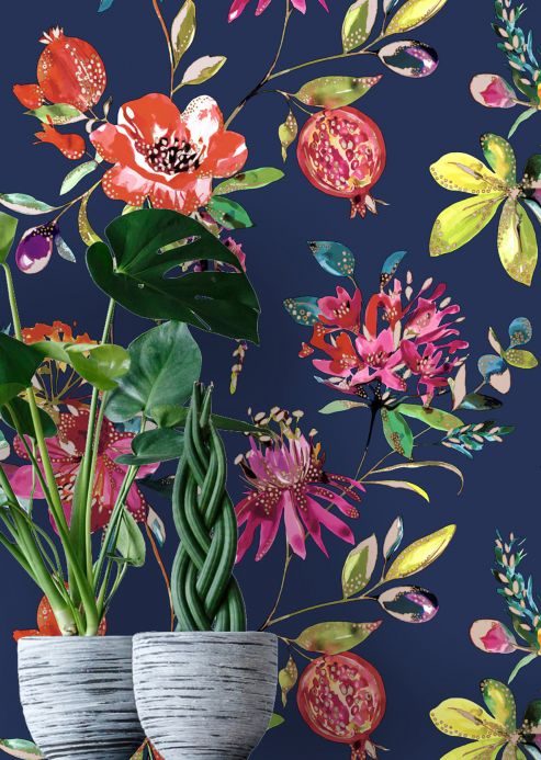 Floral Wallpaper Wallpaper Candice sapphire blue Room View