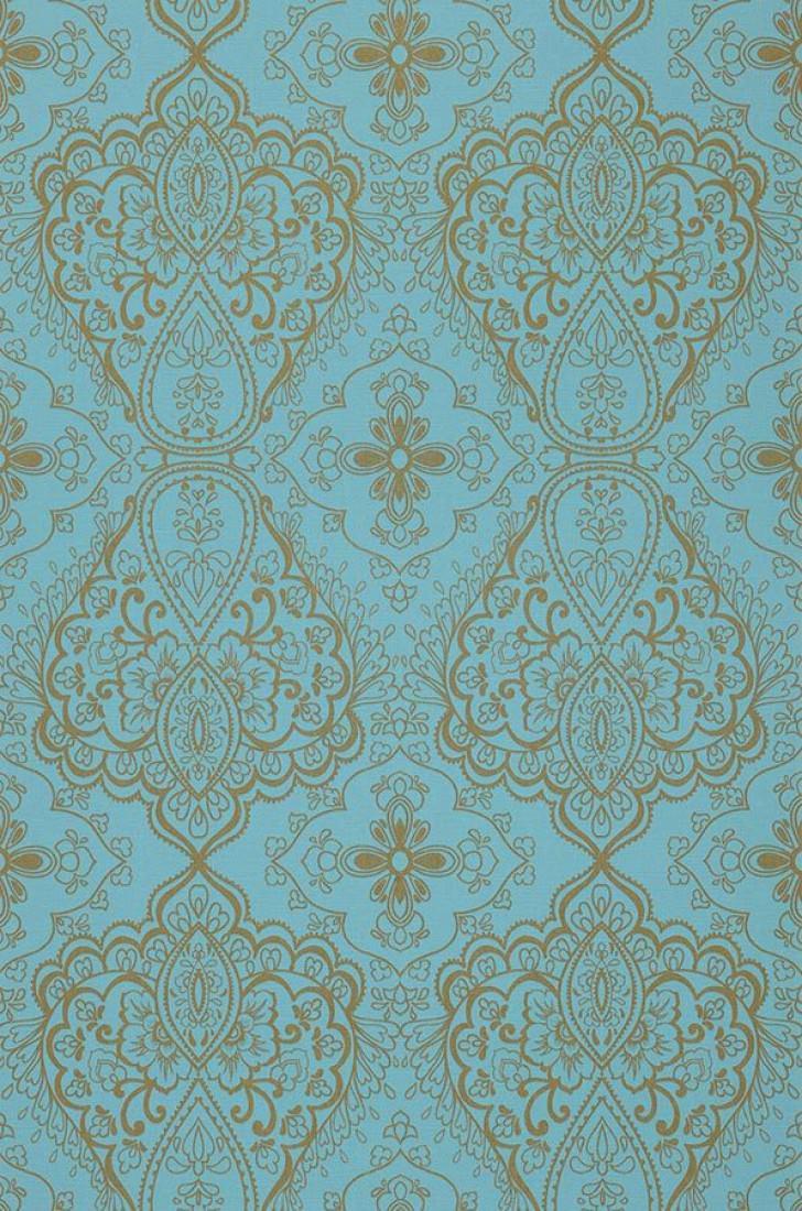 Papel pintado rosmerta azul turquesa oro papeles de for Papel pintado oriental