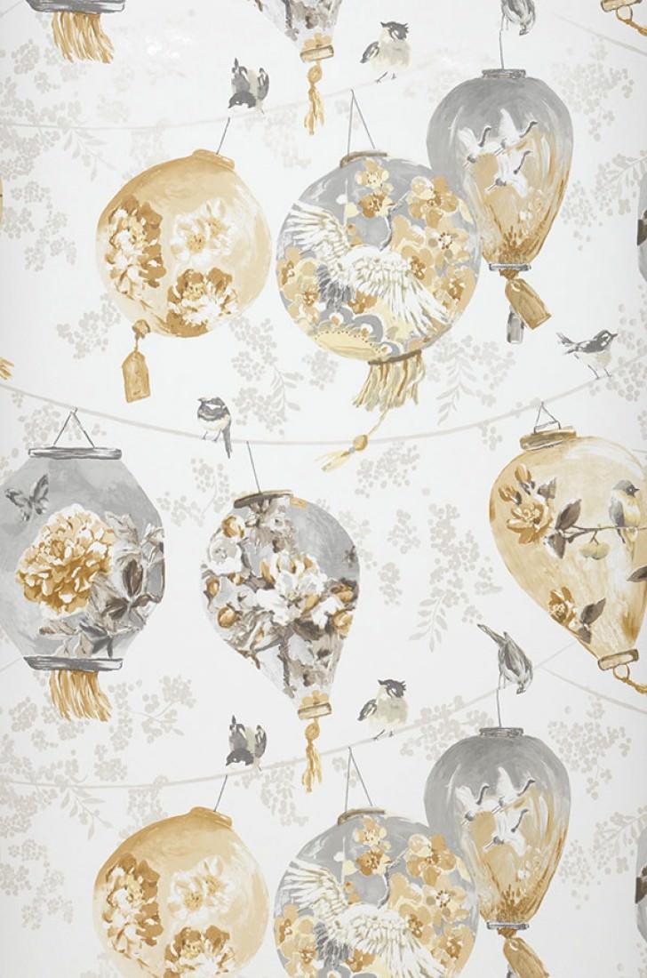 Papel pintado japanese laterns blanco crema beige gris for Papel pintado romantico