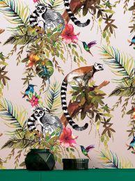 Carta da parati Madagascar rosa antico scintillante
