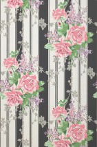 Wallpaper Mareen Hand printed look Matt Roses Stripes Anthracite Cream Grey Pastel green Pastel violet Rose