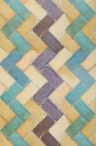 Wallpaper Zig zag Matt Imitation tiles Beige Blue Turquoise Violet