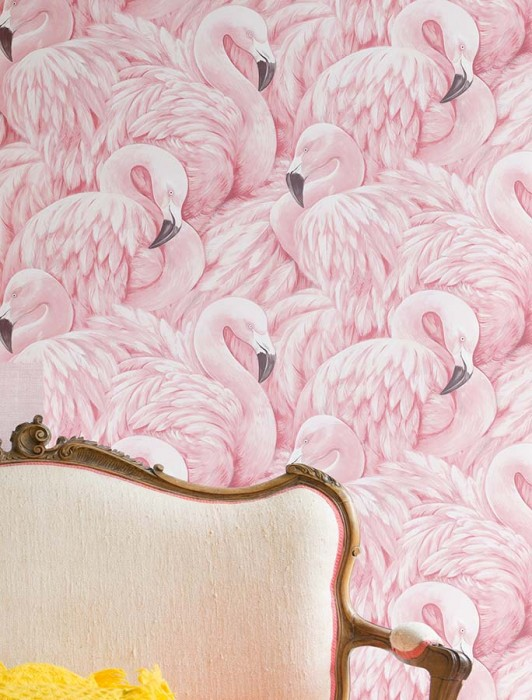 Wallpaper Flamingo Dreaming Matt Flamingos Rosè Cream Light pink Chocolate brown