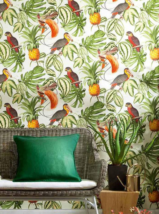 Wallpaper Esira Matt Pineapple Leaves Birds Cream Fern green Yellow Grey brown Light ivory Orange Red