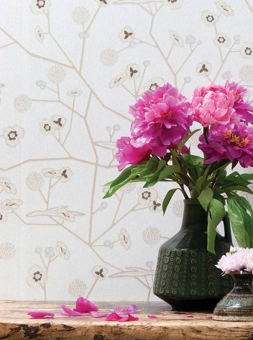 Papel de parede floral Papel de parede Chelsea creme Ver quarto